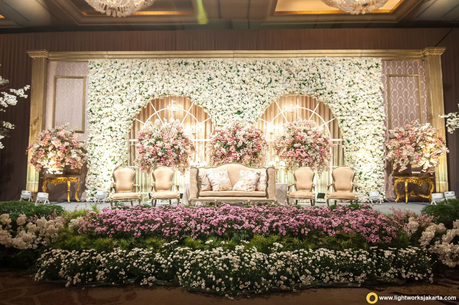 Love This Stage Decor In White N Purple Flowers White