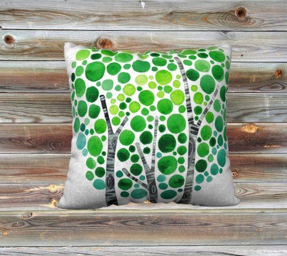 Serenità acquerello arte tiro cuscino coprire estate di jellybeans