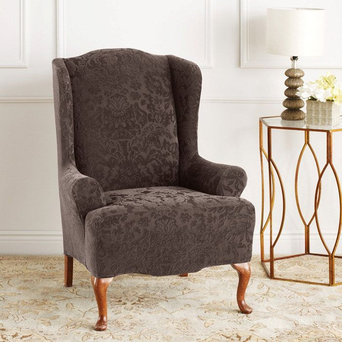 Sculpture of Wingback Chair Slipcover for Comfortable Seating ...