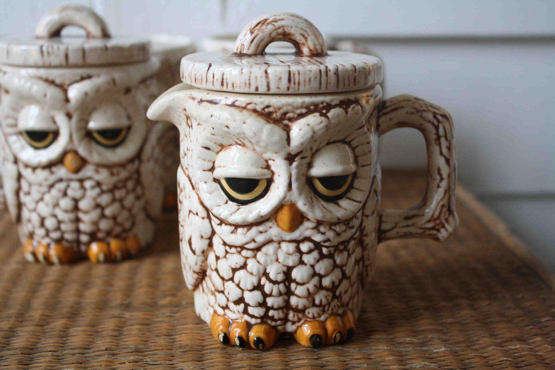 Vintage owl cream and sugar set by silverbeevintage on Etsy, $16.00