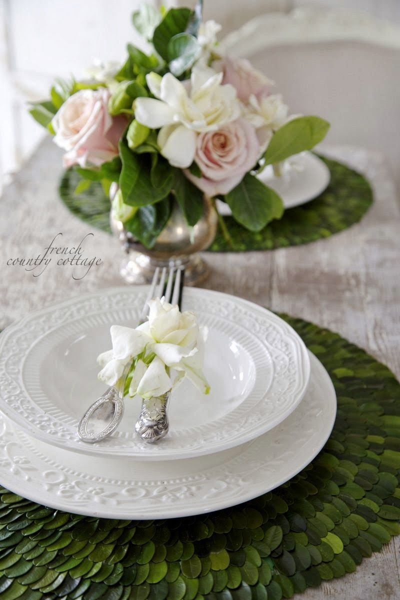 French Country Cottage Boxwood Placemats A Treat Pretty Table Settings Home Floral Arrangements Easter Table Settings