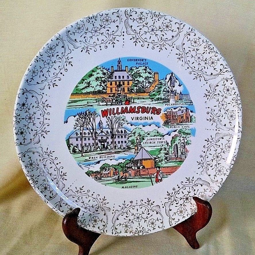 WILLIAMSBURG VA PLATE GOLD VINTAGE COLLEGE WILLIAM MARY WREN POCAHONTAS  GAOL.