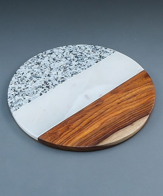 Round Granite & Sheesham Wood Trivet