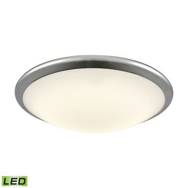 Clancy Round LED Flushmount In Chrome And Opal Glass - Large
