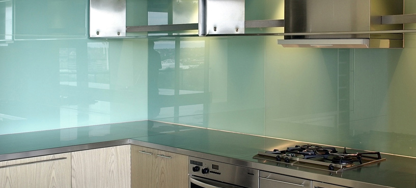 Light Blue Glass Backsplash For Kitchen With Stainless Steel Cabinets