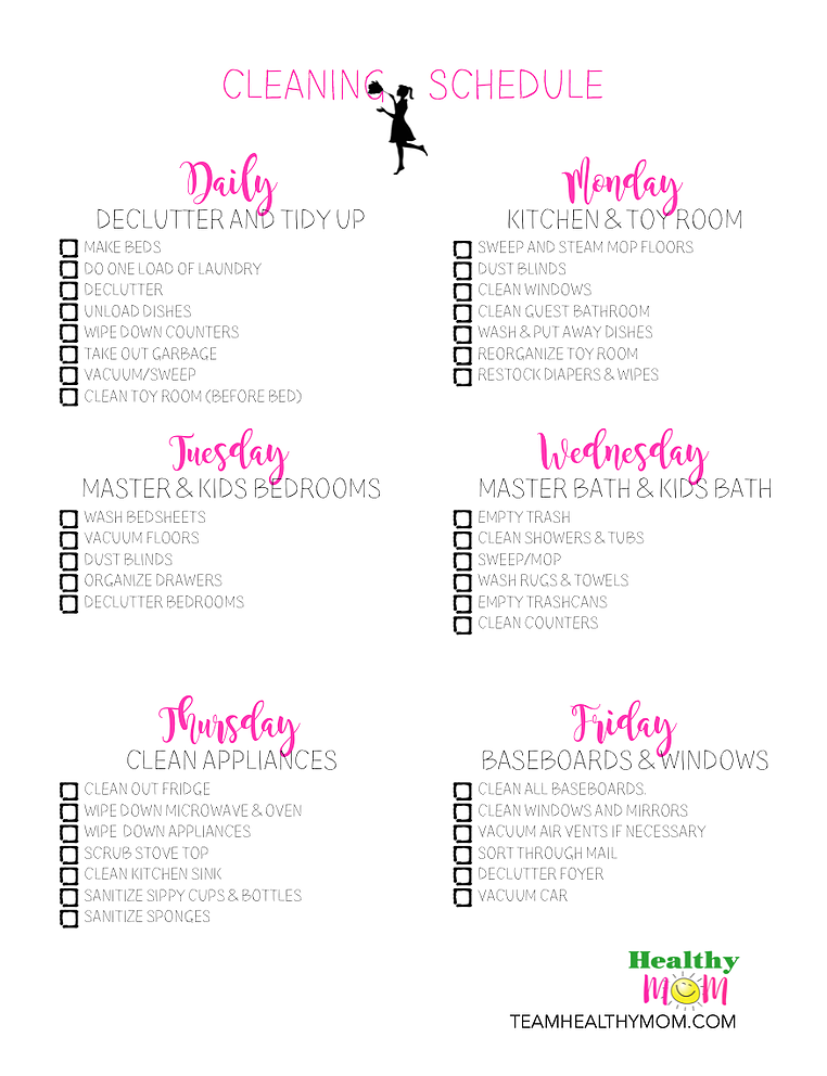 Printable Household Cleaning Schedule Team Healthy Mom Household Cleaning Schedule Daily Cleaning Schedule House Cleaning Checklist
