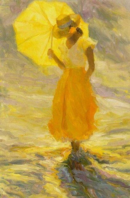 Huile de Diane Leonard, artiste américaine Smile (yellow