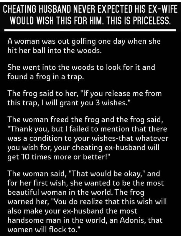 Wife Wishes Best Surprise Ever For Cheating Ex Husband This Is Priceless Funny Joke Funny Joke Husband Jokes Husband Humor Cheating Husband Quotes