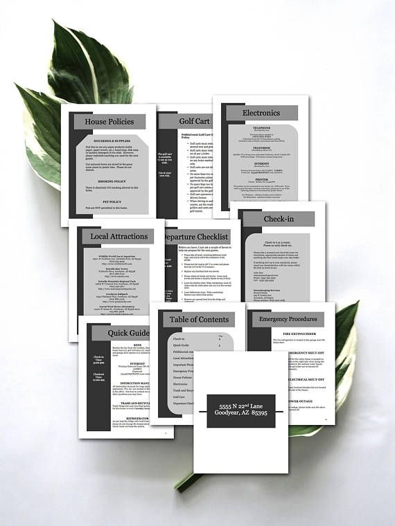 10 Item Package -- Vacation Rental Welcome Book Template Instant - vacation tracking template