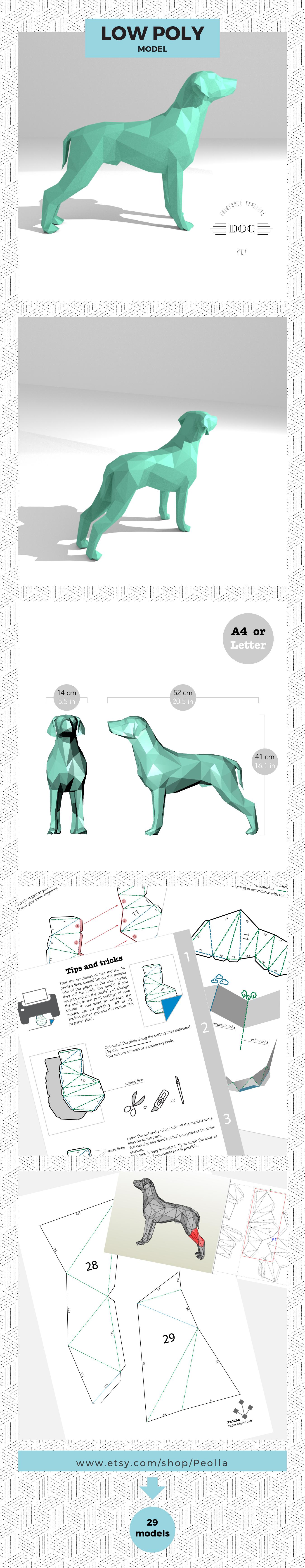 Printable Diy Template Pdf Dog Low Poly Paper Model 3d Animal