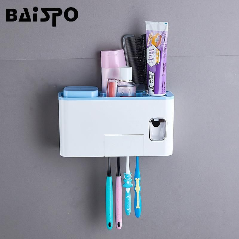 Baispo Wall Mounted Toothbrush Holder Automatic Toothpaste