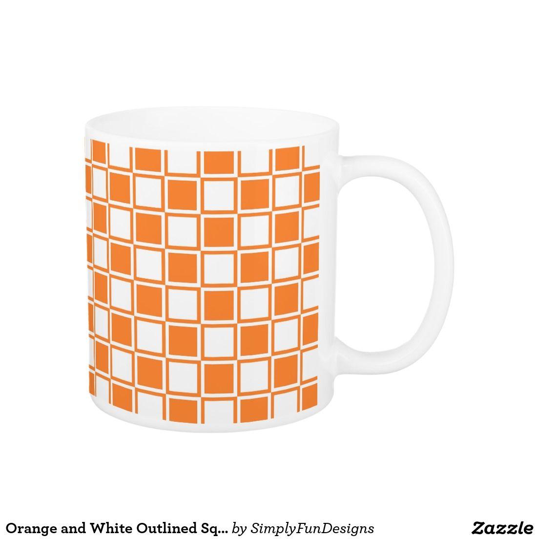 Orange and White Outlined Squares Coffee Mug