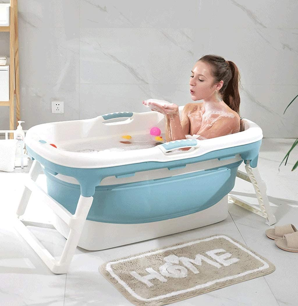 Adult Folding Bath Tub Portable Bathtub Household Plastic Spa Bathing Bucket Anti Slippery Insulation In 2020 Portable Bathtub Bathroom Improvements Portable