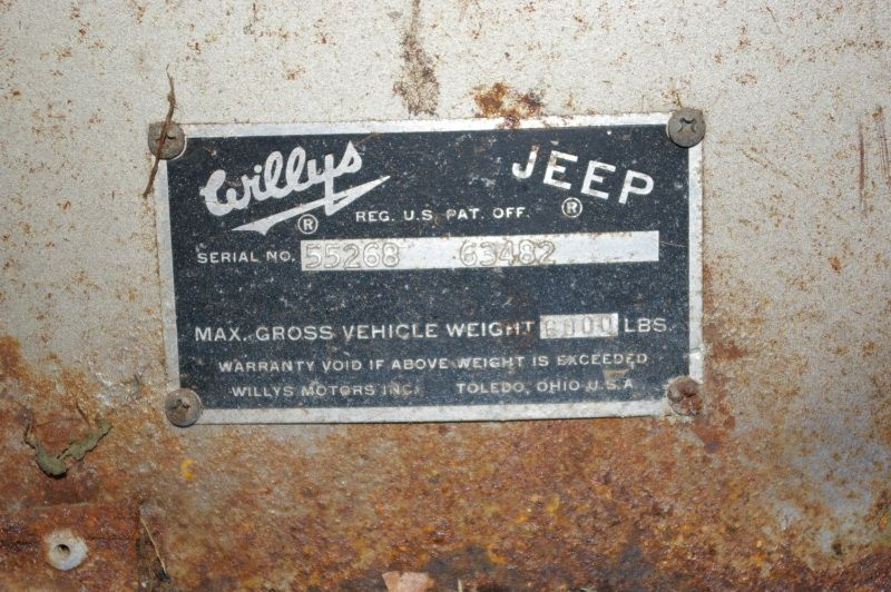 1961 Willys Pickup Truck Serial Number And Gvw Plate Number