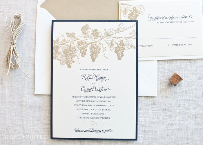 Winery Grapevine Themed Wedding Invitations By Paperwhitespress