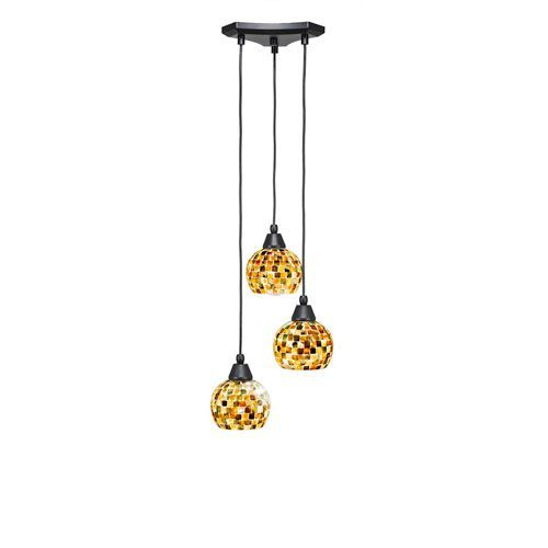 Europa Matte Black Three-Light Pendant with Sea Mist Seashell Glass