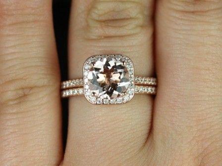 Rosados Box Camila 14kt Rose Gold Thin Round Morganite Cushion Halo Wedding Set