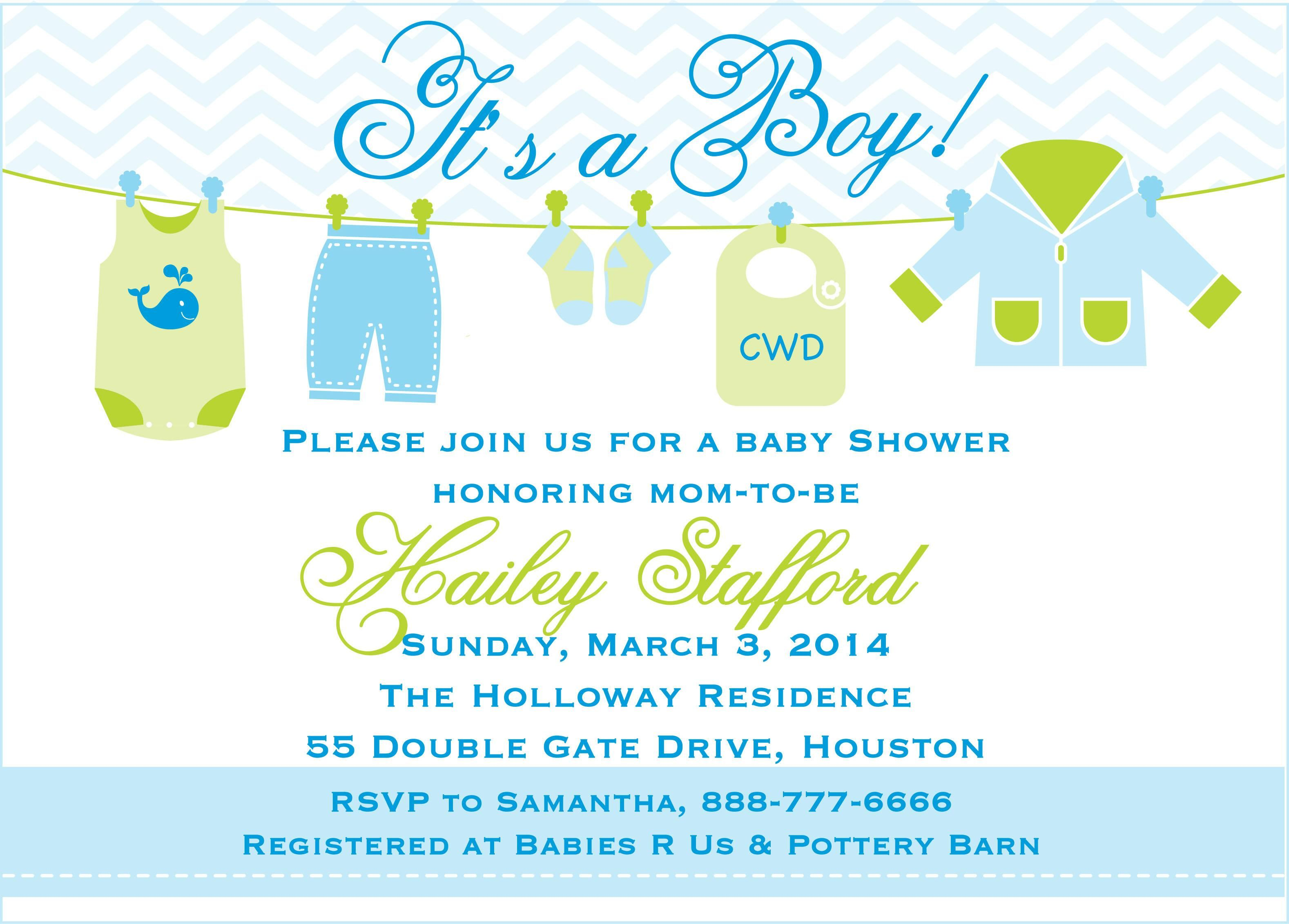 Baby Boy Shower Invitations Templates Free In