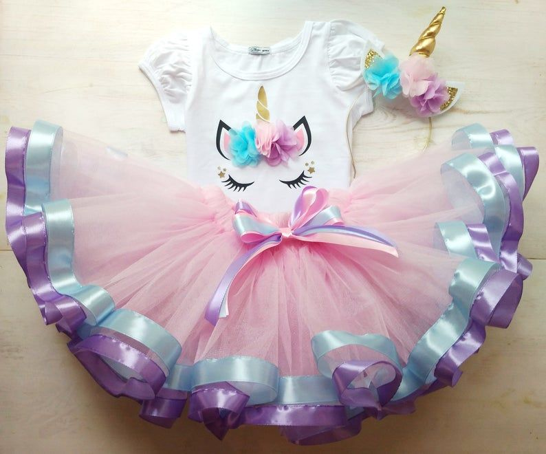 New Girls Kids Unicorn  Birthday Tutu Outfit Top Tutu Skirt Dress Set ZG9