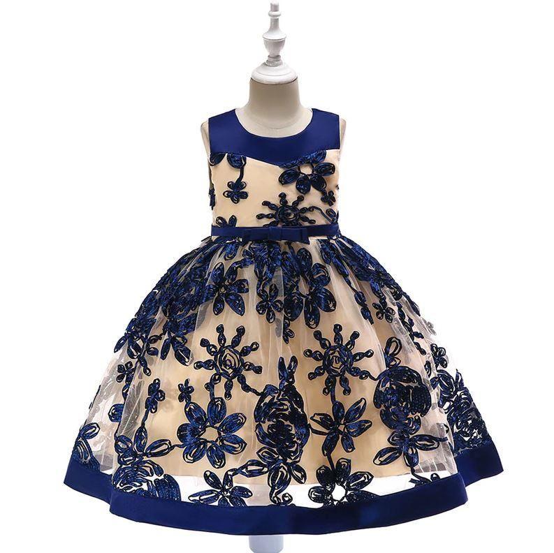 47cfc1da5b6e Navy Sateen Embroidered Toddler Girls Party Princess Dress   Toddler ...