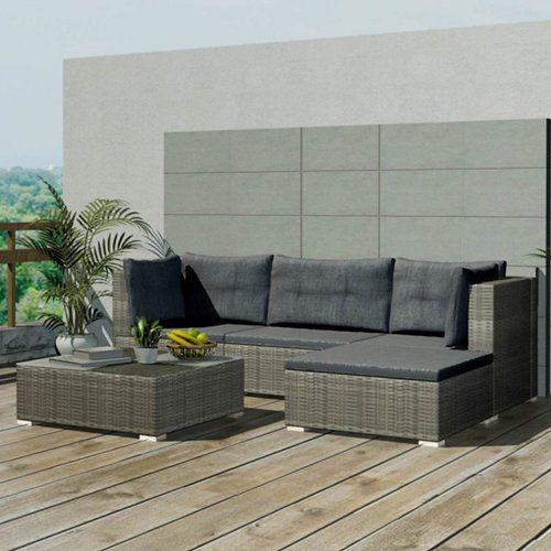 Almandine 3 Seater Rattan Effect Sofa Set Lynton Garden Colour Mixed Grey Grey Outdoor Furniture Sets Patio Furniture Sets
