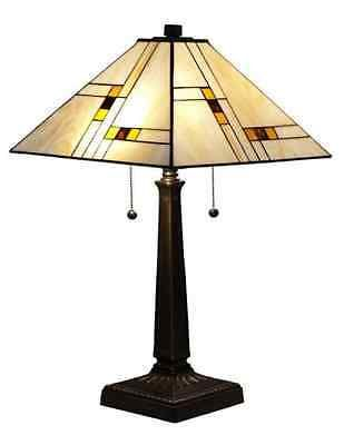 #Tiffany #style Mission Table Lamp Stained Glass Arts And #crafts Desk  Light Brow