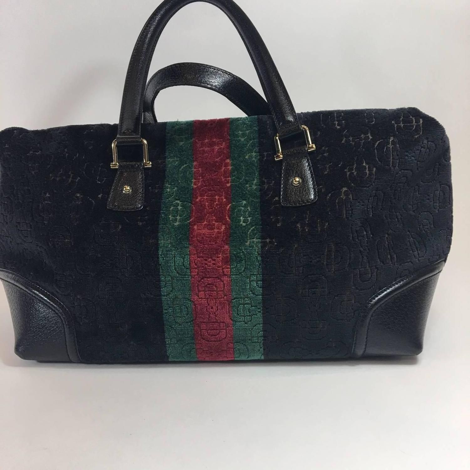 9fc50050625a Gucci Black Velvet Treasure Boston Bag | From a collection of rare vintage  top handle bags