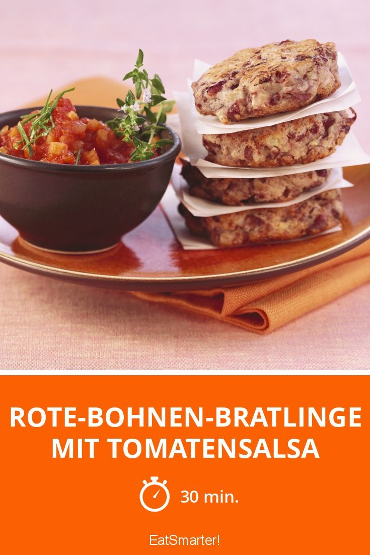 rote bohnen bratlinge mit tomatensalsa rezept gesundes abendessen pinterest bohnen rote. Black Bedroom Furniture Sets. Home Design Ideas