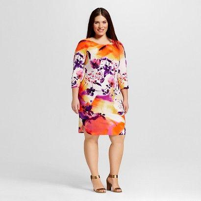 Women's Plus Size 3/4 Sleeve Printed Dress Purple/Orange - Sami & Dani