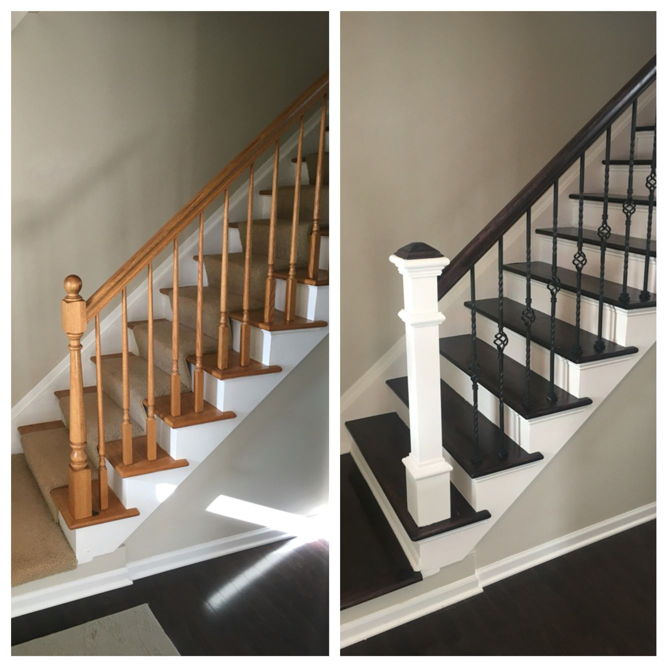 Renovating Stairs Wrought Iron Wood Floor Finishing Clean Lines