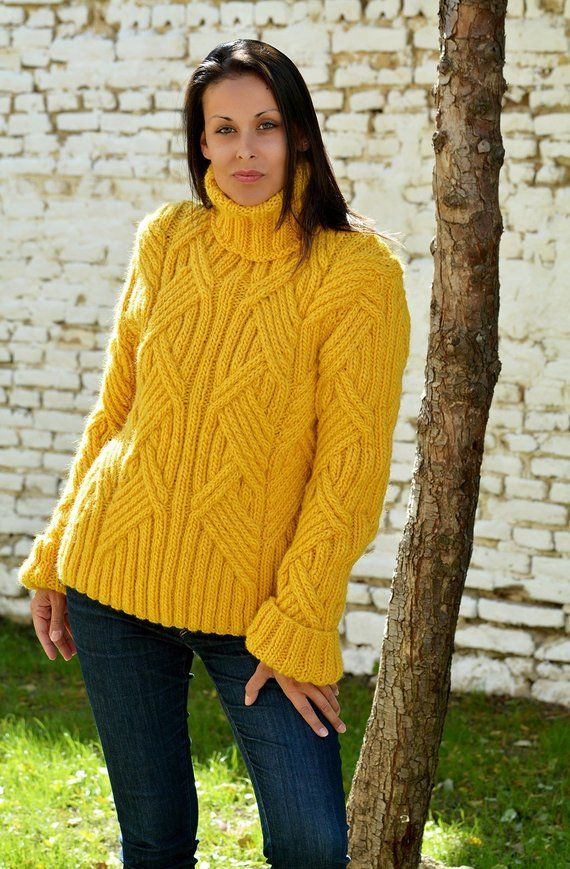 27e78548886 Designer Cable Hand Knit 100% WOOL Turtleneck Sweater Yellow Fuzzy Jumper  Jersey by Extravagantza