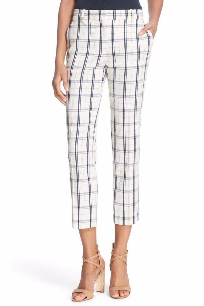 870196671f3 NWT Theory Treeca 2 Check Stretch Wool Blend Crop Pant, IVORY/ BLUE, sz 4,  $285 #Theory #CaprisCropped