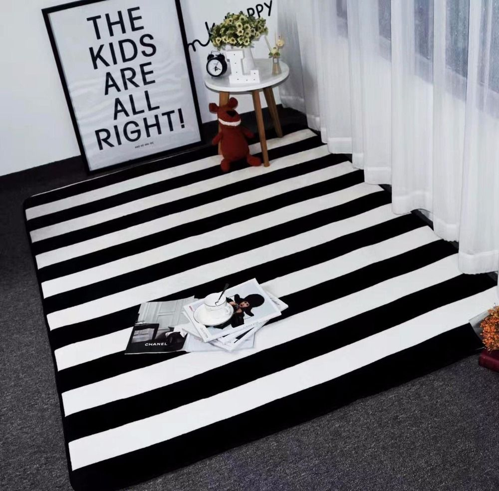 Big Size Mat Black White Stripes Carpets For Living Room Z