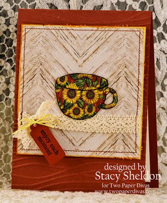 handmade greeting card from Stacy's Memory Triggers ... luv the paper pieced teacup using Graphic 45 printed paper with daisies ...