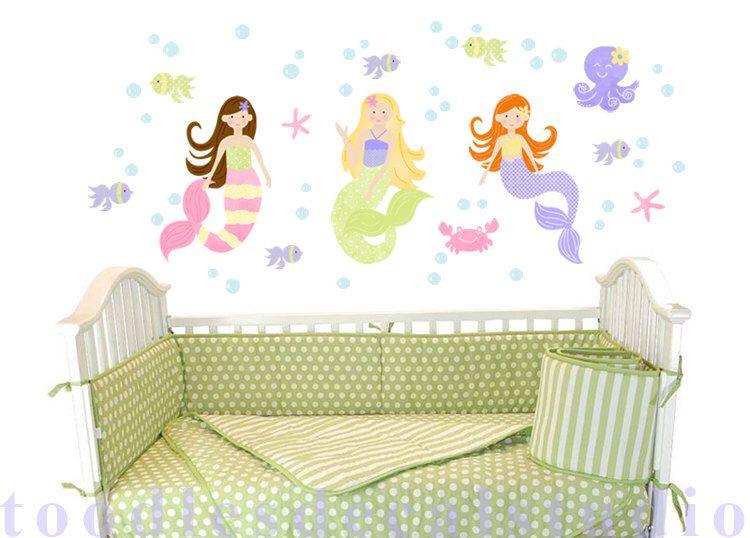 Mermaid wall decals - Purple mermaid wall art for nursery - beach ...