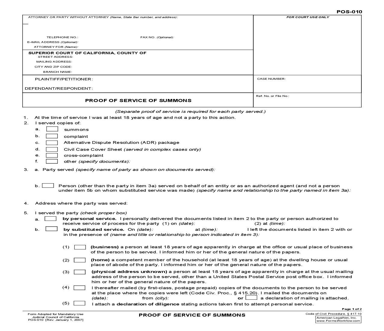Civil Summons Form Entrancing This Is A California Form That Can Be Used For Proof Of Service .