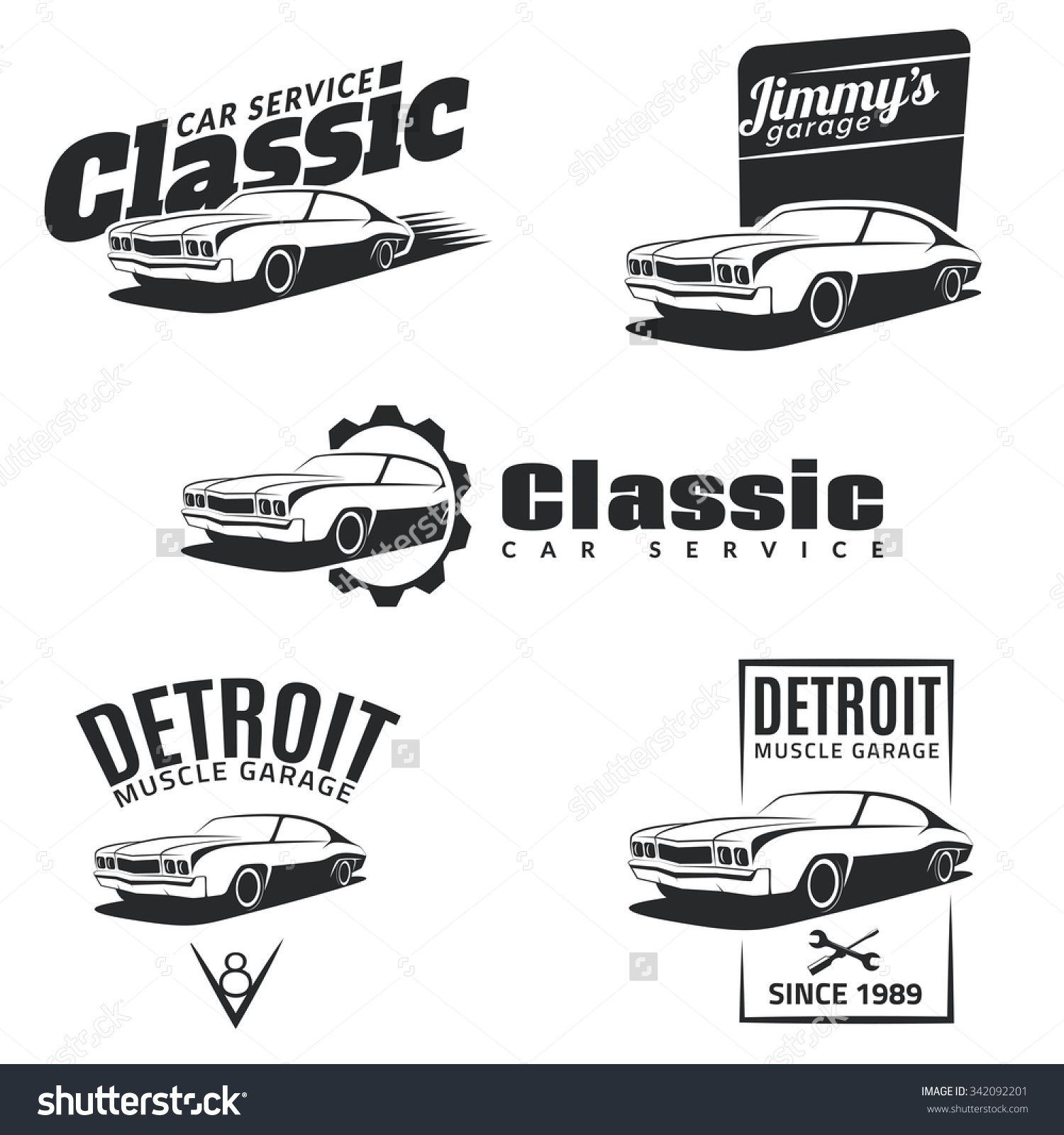 Set Of Classic Muscle Car Emblems Badges And Icons Service Car - Muscle car repair