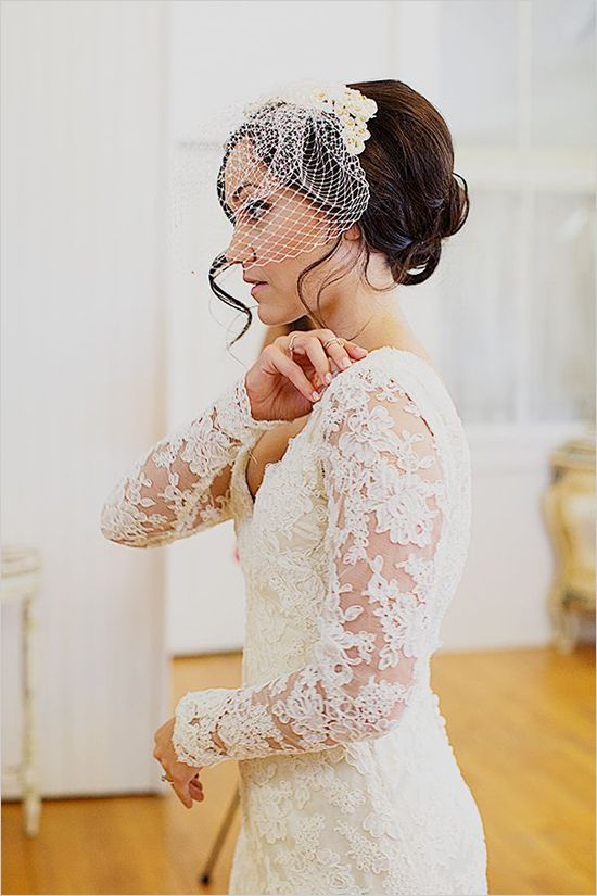 Colorful Meets Victorian Wedding Veil Hairstyles Wedding Gowns Mermaid Long Sleeve Wedding Gowns