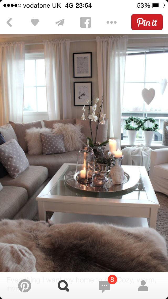 homey ideas modular coffee table. Modern grey living room with cozy fur pillows and throws  pretty candles flowers on the coffee table tray Snug ideas Decorate My Life Pinterest