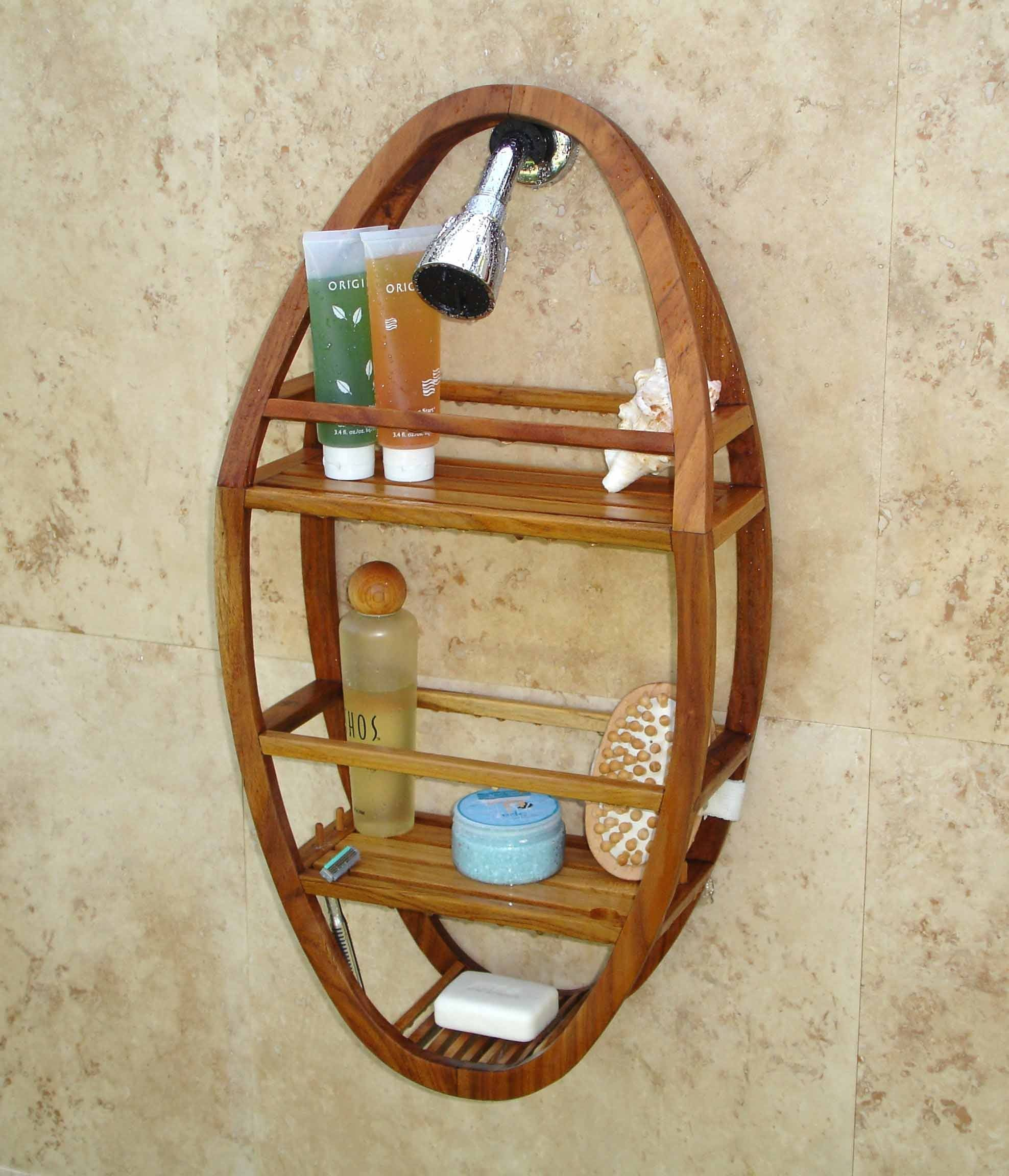 Amazon Com Spa Teak Oval Shower Organizer Shower Caddies Pool Shower Shower Organization Teak Shower Teak Bathroom