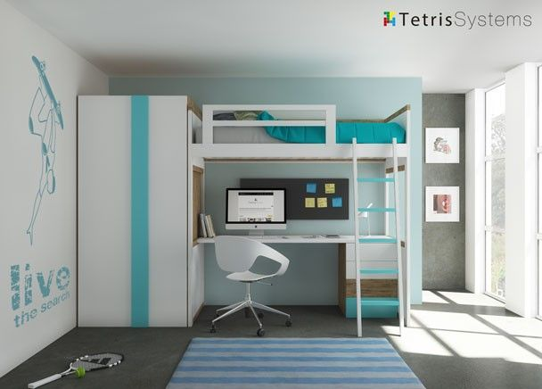 Cama alta modelo zisne con escritorio y armario for Literas juveniles con escritorio