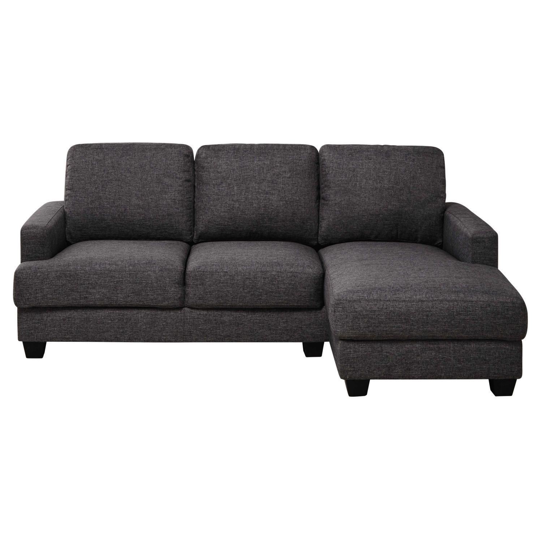 Meridienne Moderne Pour Salon canapé d'angle droit 3/4 places gris chiné | corner sofa