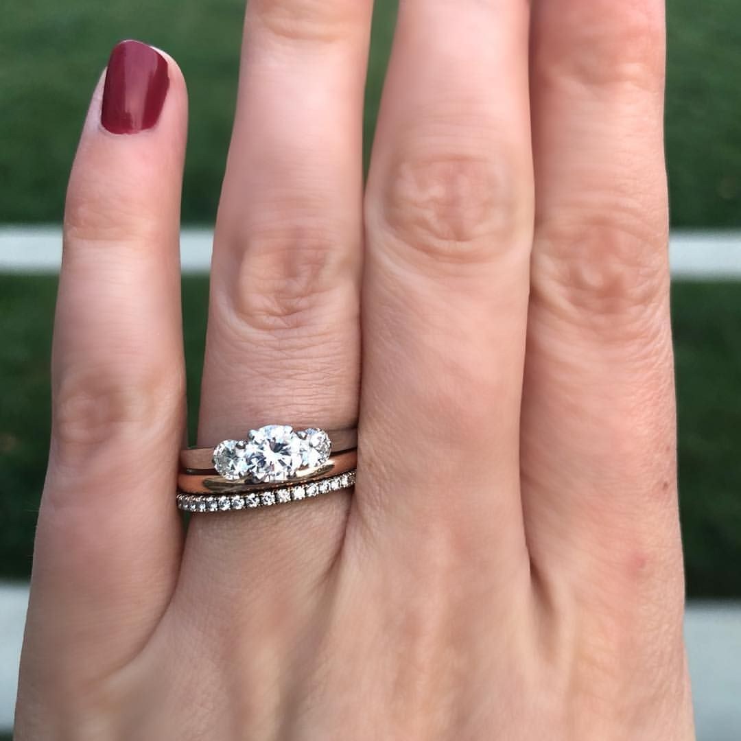 Gorgeous round cut 3 stones and stacked with a plain band and ...