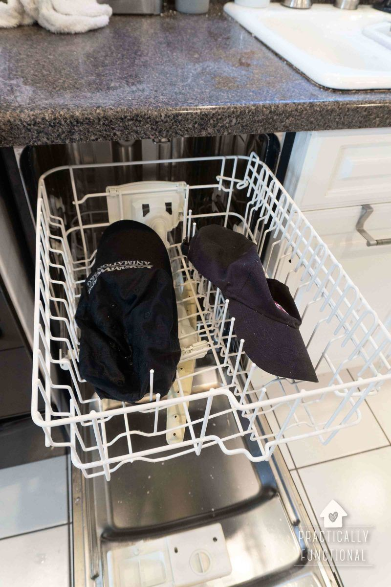 How To Wash A Baseball Cap In The Dishwasher Practically Functional Washing Hats In Dishwasher How To Wash Hats Washing Baseball Hats