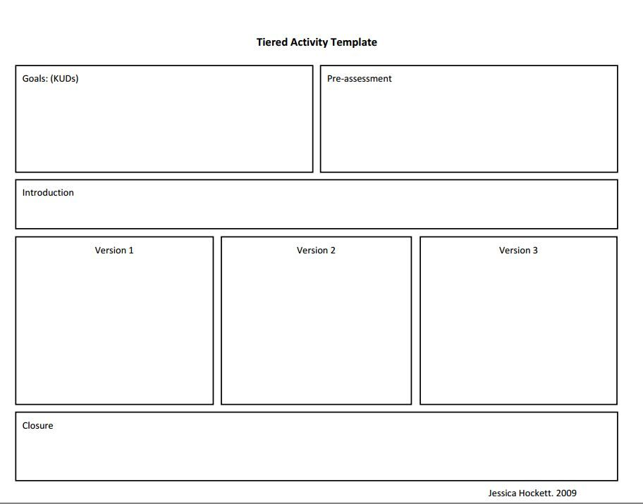 Tierred Instruction Template  Lesson Plans    Lesson