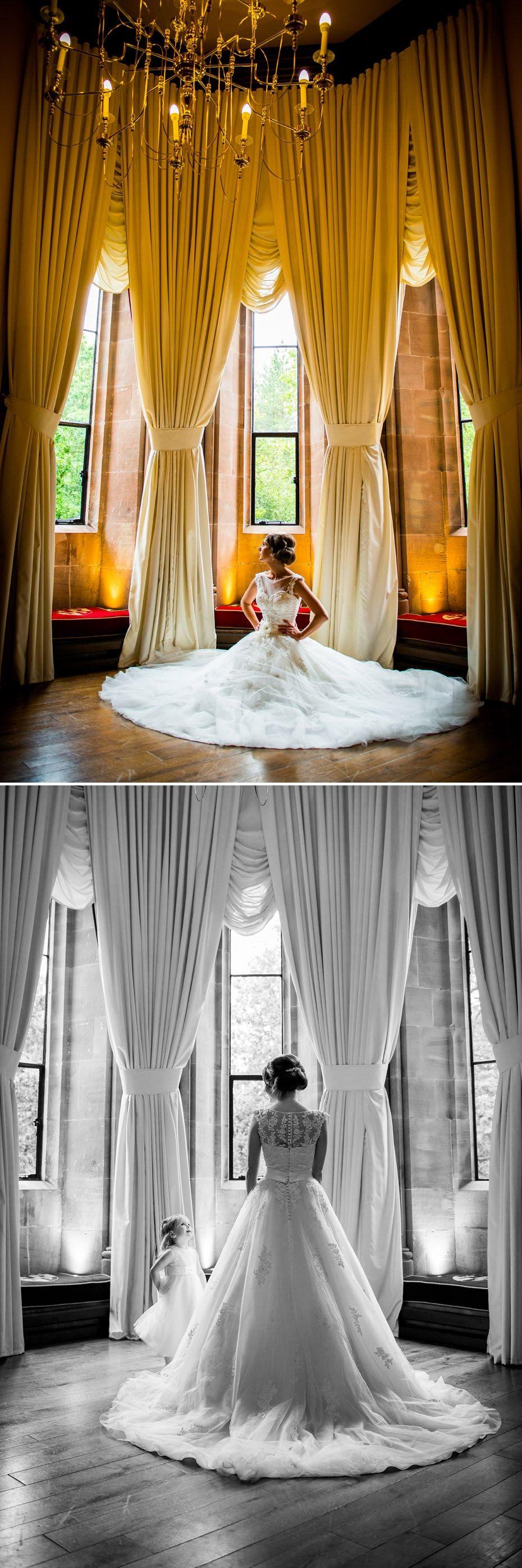 Bride Gorgeous Wedding Dress At Peckforton Castle Cheshire Venue