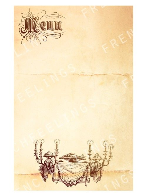 Vintage french digital menu card Print your own by ...