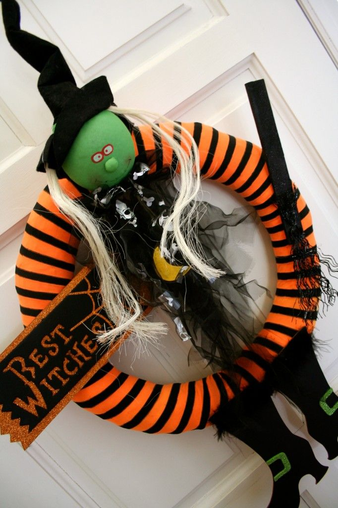 Get your tights out and make a wreath for Halloween :)