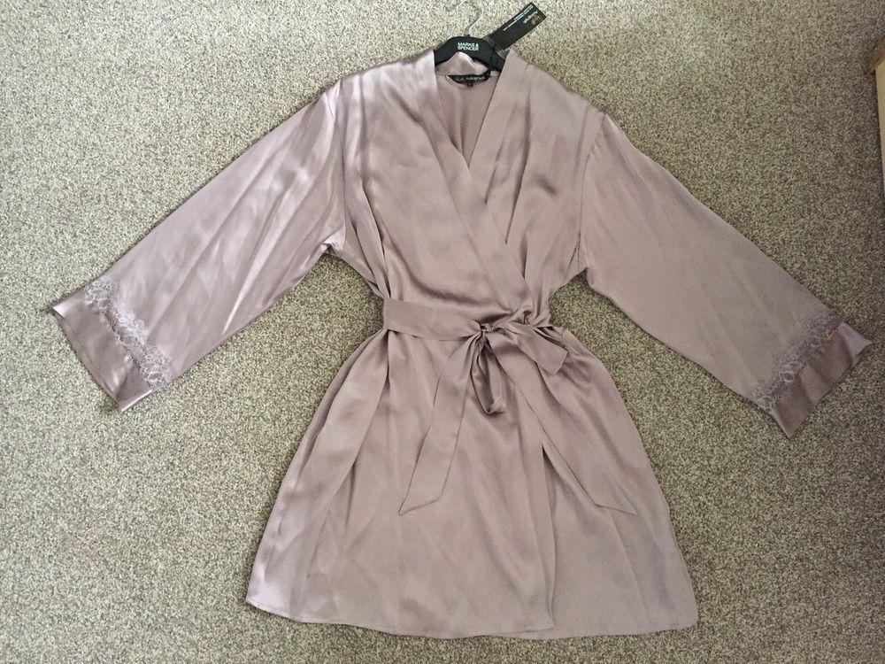 M&S AUTOGRAPH Rosie LUXURIOUS 100% SILK Ladies Dressing Gown UK18 ...