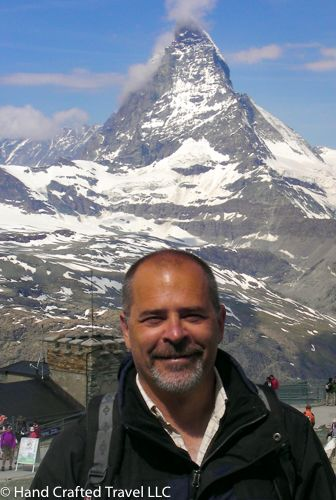 Enjoying the view of the Matterhorn on a beautiful day in Zermatt, Switzerland in 2010. You don't have to be a hiker to get this view. The Swiss make it easy – just ride the Gornergratbahn, a cog-wheel train up to the Gornergrat. #TBT http://bit.ly/1X0seGE